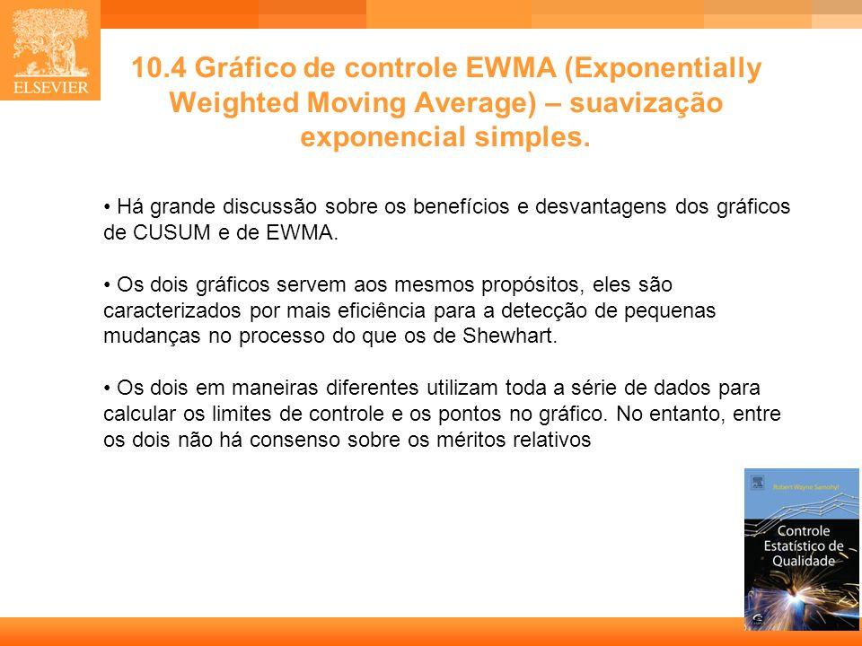 19 10.4 Gráfico de controle EWMA (Exponentially Weighted Moving Average) – suavização exponencial simples. Há grande discussão sobre os benefícios e d