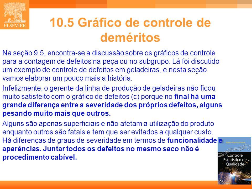 25 10.5 Gráfico de controle de deméritos Na seção 9.5, encontra-se a discussão sobre os gráficos de controle para a contagem de defeitos na peça ou no
