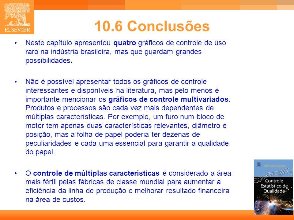 29 10.6 Conclusões Neste capítulo apresentou quatro gráficos de controle de uso raro na indústria brasileira, mas que guardam grandes possibilidades.
