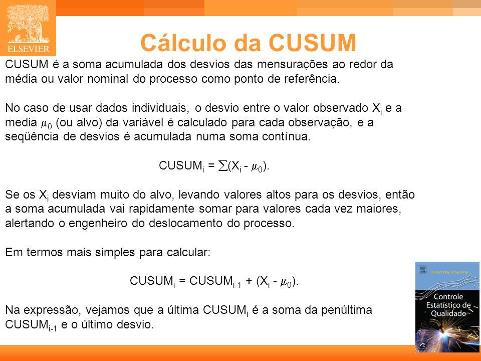 7 Cálculo da CUSUM CUSUM é a soma acumulada dos desvios das mensurações ao redor da média ou valor nominal do processo como ponto de referência. No ca