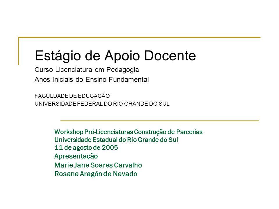 Workshop Pró-Licenciaturas Construção de Parcerias Universidade Estadual do Rio Grande do Sul 11 de agosto de 2005 Apresentação Marie Jane Soares Carv