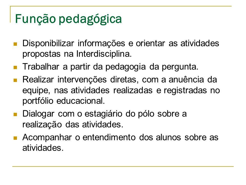Função pedagógica Disponibilizar informações e orientar as atividades propostas na Interdisciplina. Trabalhar a partir da pedagogia da pergunta. Reali