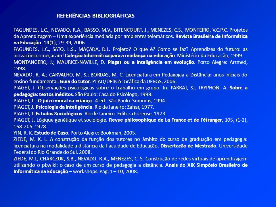 REFERÊNCIAS BIBLIOGRÁFICAS FAGUNDES, L.C., NEVADO, R.A., BASSO, M.V., BITENCOURT, J., MENEZES, C.S., MONTEIRO, V.C.P.C. Projetos de Aprendizagem – Uma