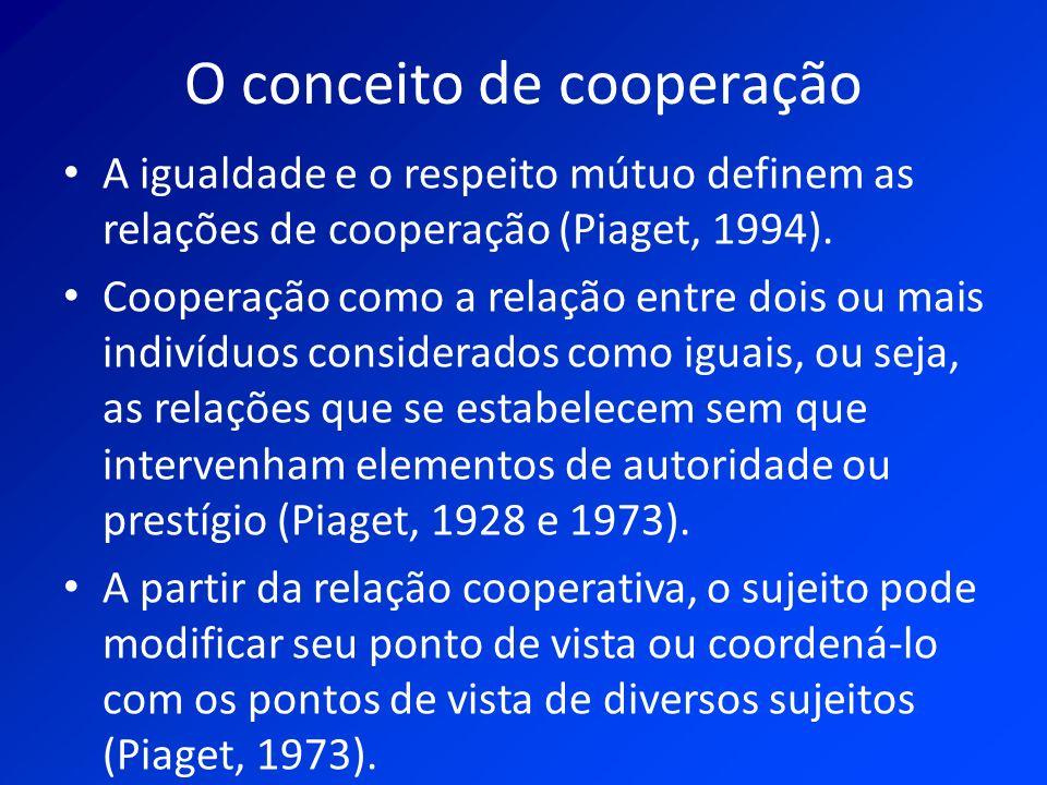 O conceito de cooperação A igualdade e o respeito mútuo definem as relações de cooperação (Piaget, 1994). Cooperação como a relação entre dois ou mais