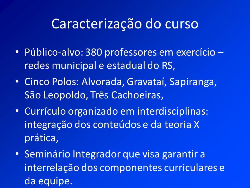 Caracterização do curso Público-alvo: 380 professores em exercício – redes municipal e estadual do RS, Cinco Polos: Alvorada, Gravataí, Sapiranga, São