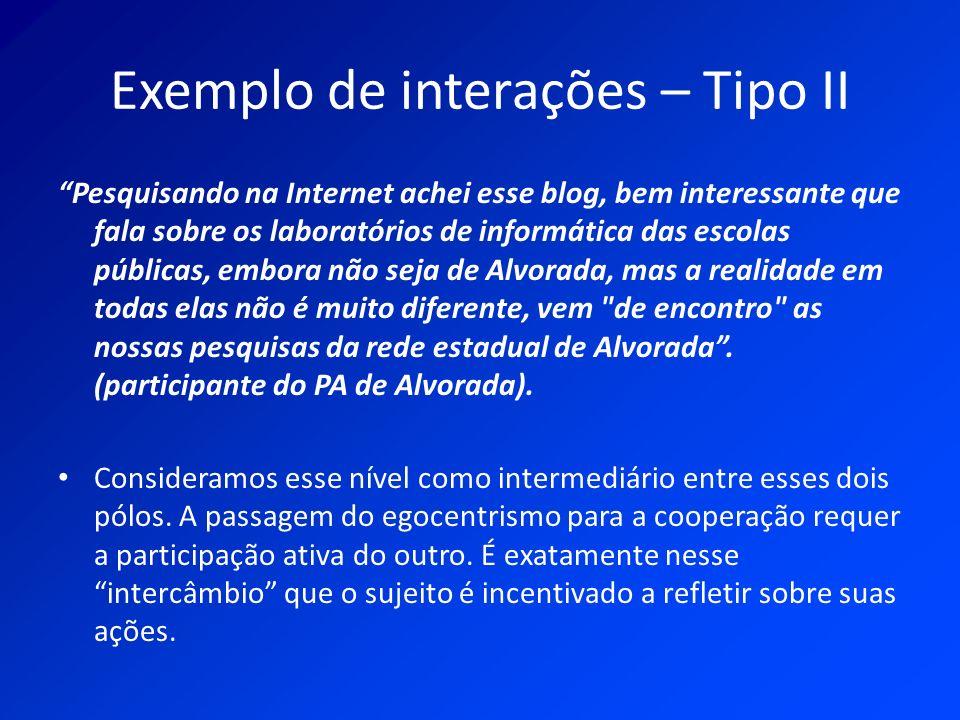 Exemplo de interações – Tipo II Pesquisando na Internet achei esse blog, bem interessante que fala sobre os laboratórios de informática das escolas pú