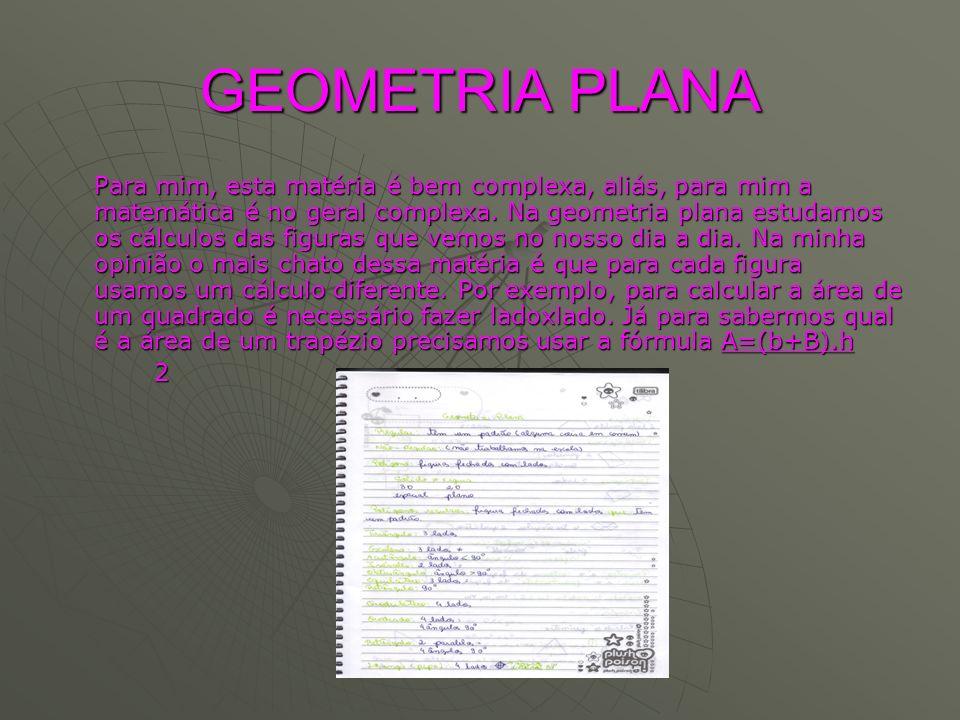 GEOMETRIA PLANA Para mim, esta matéria é bem complexa, aliás, para mim a matemática é no geral complexa. Na geometria plana estudamos os cálculos das