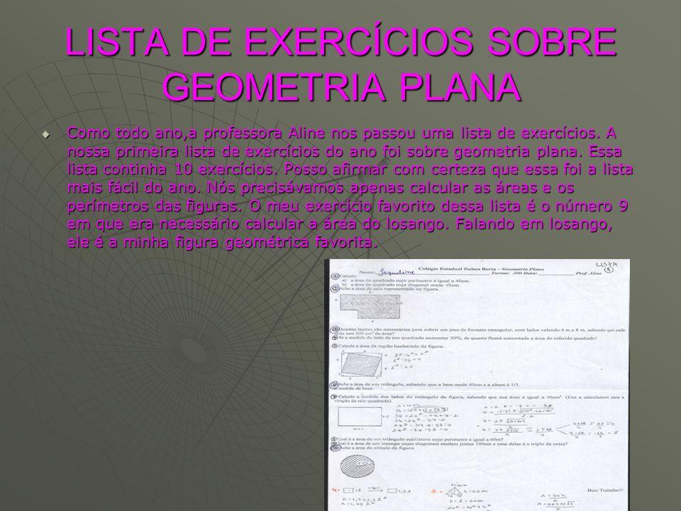 LISTA DE EXERCÍCIOS SOBRE GEOMETRIA PLANA Como todo ano,a professora Aline nos passou uma lista de exercícios. A nossa primeira lista de exercícios do