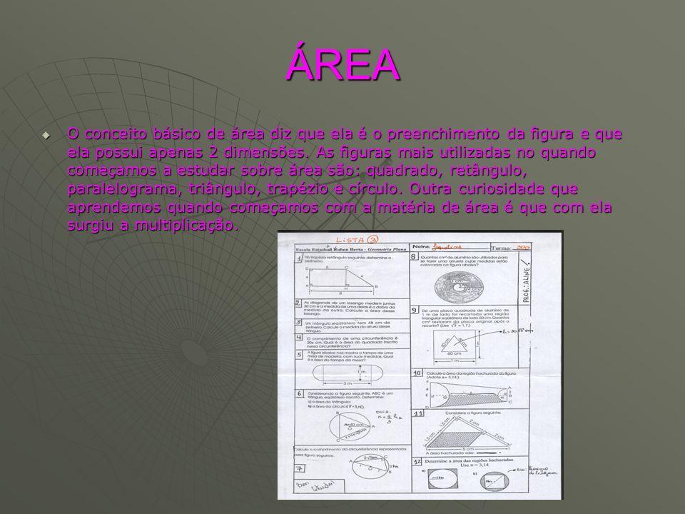 ÁREA O conceito básico de área diz que ela é o preenchimento da figura e que ela possui apenas 2 dimensões. As figuras mais utilizadas no quando começ