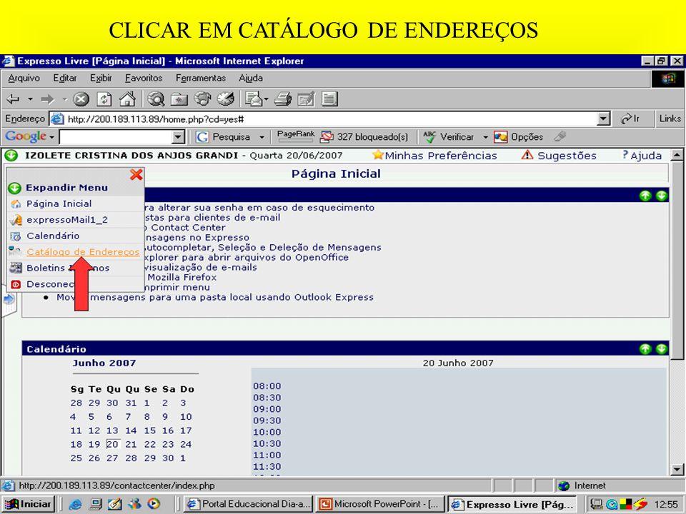 CLICAR EM CATÁLOGO DE ENDEREÇOS