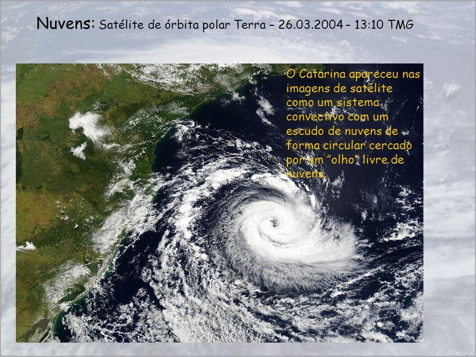 O Catarina apareceu nas imagens de satélite como um sistema convectivo com um escudo de nuvens de forma circular cercado por um olho livre de nuvens.