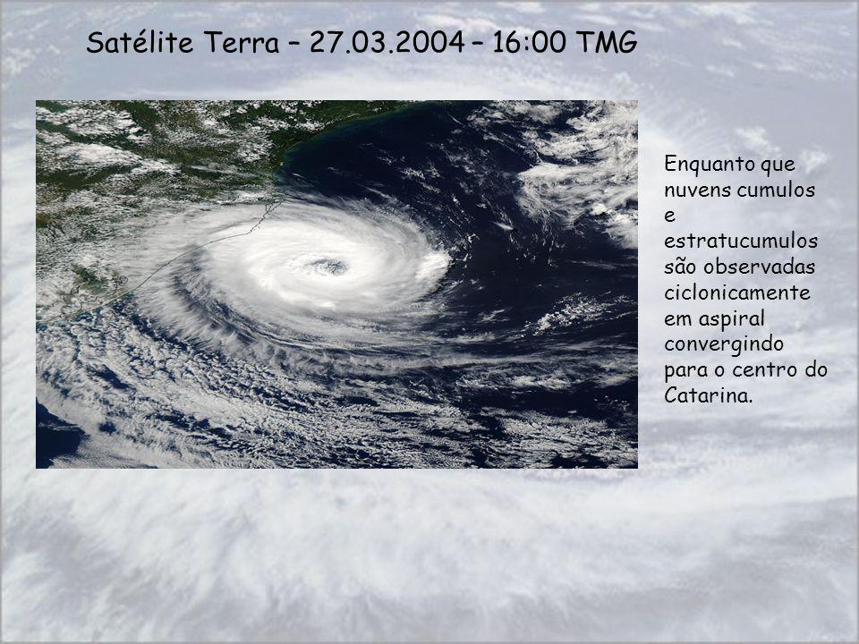 Satélite Terra – 27.03.2004 – 16:00 TMG Enquanto que nuvens cumulos e estratucumulos são observadas ciclonicamente em aspiral convergindo para o centr