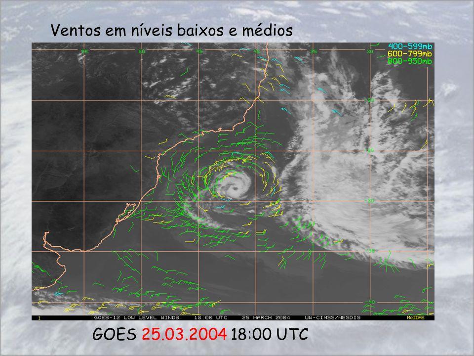 GOES 25.03.2004 18:00 UTC Ventos em níveis baixos e médios
