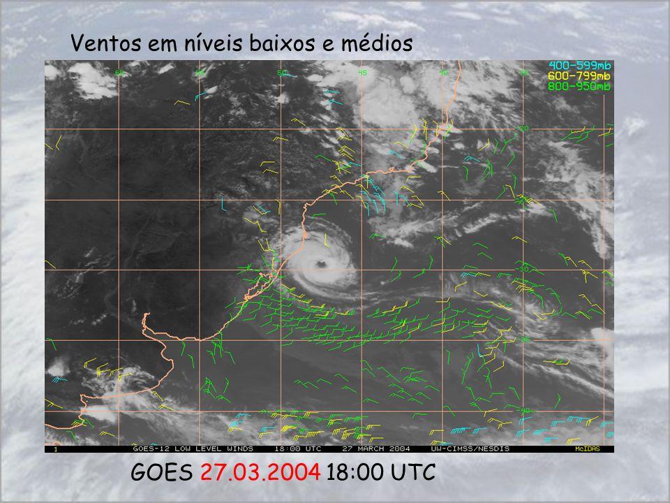 GOES 27.03.2004 18:00 UTC Ventos em níveis baixos e médios