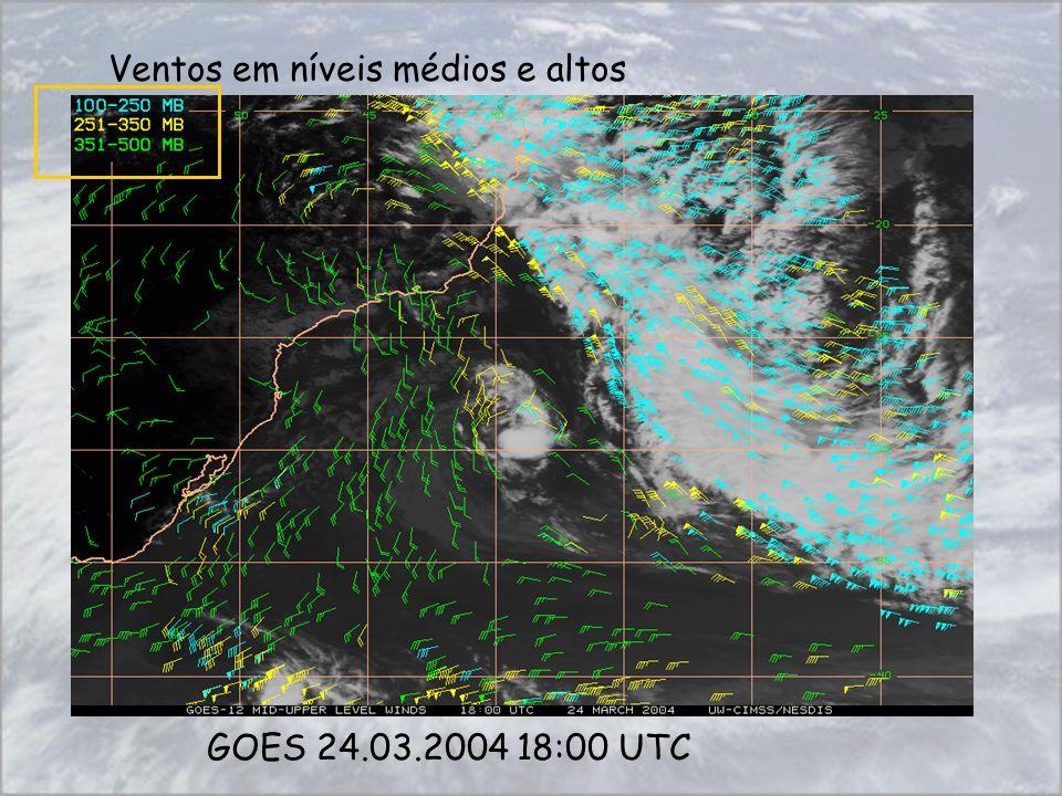 Ventos em níveis médios e altos GOES 24.03.2004 18:00 UTC