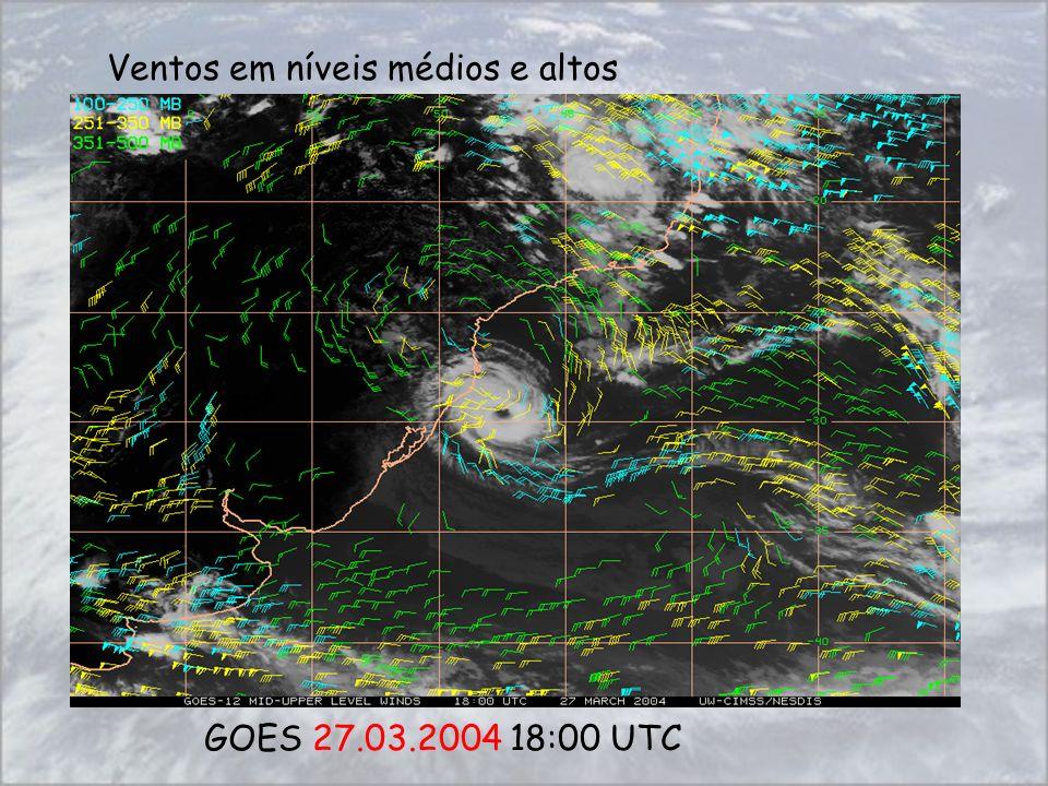 Ventos em níveis médios e altos GOES 27.03.2004 18:00 UTC