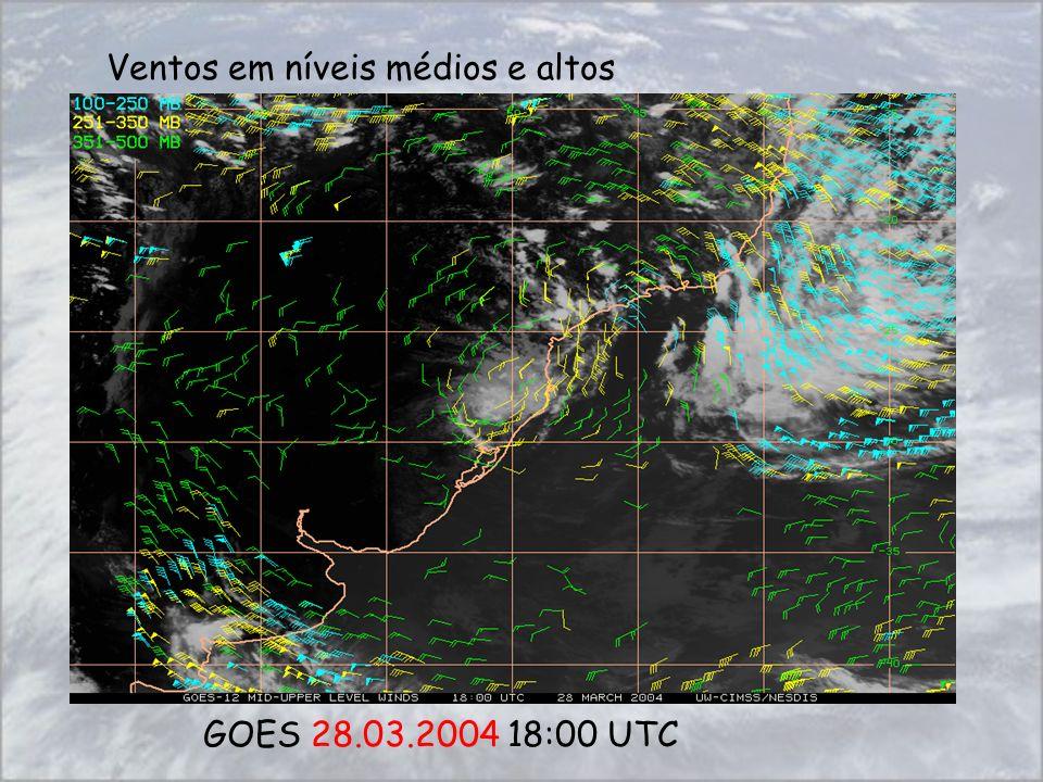 Ventos em níveis médios e altos GOES 28.03.2004 18:00 UTC