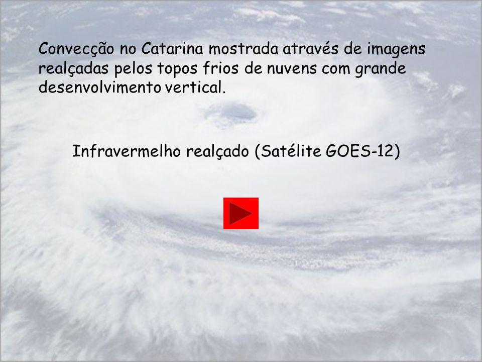 Convecção no Catarina mostrada através de imagens realçadas pelos topos frios de nuvens com grande desenvolvimento vertical. Infravermelho realçado (S