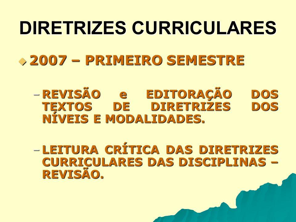 DIRETRIZES CURRICULARES 2007 – SEGUNDO SEMESTRE 2007 – SEGUNDO SEMESTRE –Encontros presenciais: equipes disciplinares, leitores críticos e secretário de Estado da Educação.