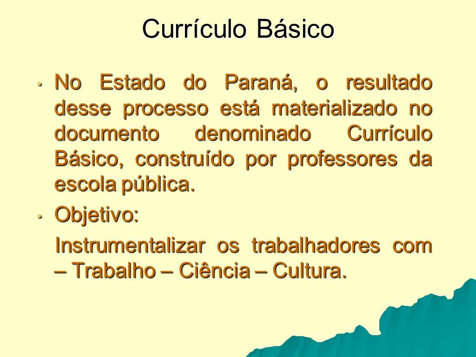 LDB 9.394/96 No Estado do Paraná, após o lançamento dos PCN, em 1998, a Secretaria de Estado da Educação adota uma política de esvaziamento do conteúdo das disciplinas.
