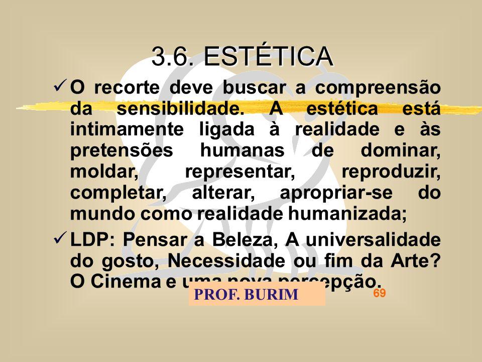 DEB 2008 – D.C.E. 69 3.6. ESTÉTICA O recorte deve buscar a compreensão da sensibilidade.