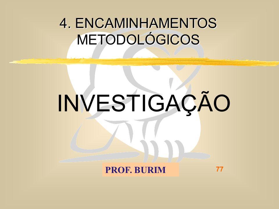 DEB 2008 – D.C.E. 77 4. ENCAMINHAMENTOS METODOLÓGICOS INVESTIGAÇÃO PROF. BURIM