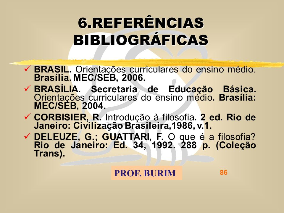 DEB 2008 – D.C.E. 86 6.REFERÊNCIAS BIBLIOGRÁFICAS BRASIL.