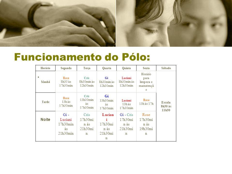 Funcionamento do Pólo:. HorárioSegundaTerçaQuartaQuintaSextaSábado Manhã Rose 8h30 às 17h30min Cris 8h30min às 12h30min Gi 8h30min às 12h30min Luciani