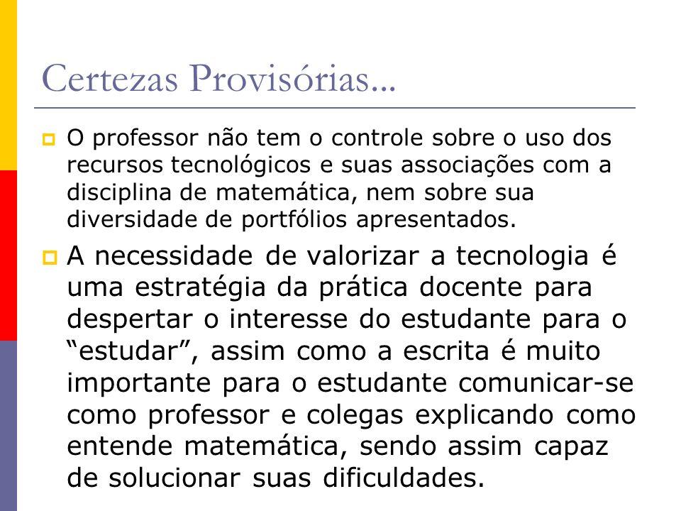Certezas Provisórias... O professor não tem o controle sobre o uso dos recursos tecnológicos e suas associações com a disciplina de matemática, nem so