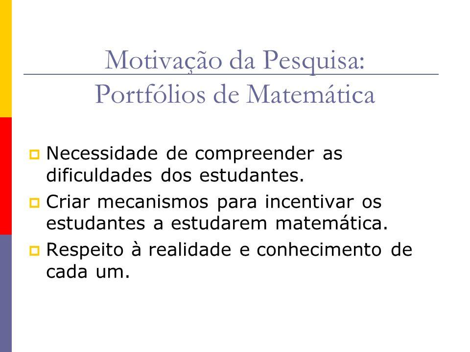 Motivação da Pesquisa: Portfólios de Matemática Necessidade de compreender as dificuldades dos estudantes. Criar mecanismos para incentivar os estudan