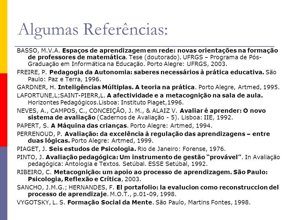 Algumas Referências: BASSO, M.V.A. Espaços de aprendizagem em rede: novas orientações na formação de professores de matemática. Tese (doutorado). UFRG
