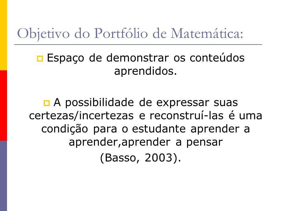 Objetivo do Portfólio de Matemática: Espaço de demonstrar os conteúdos aprendidos. A possibilidade de expressar suas certezas/incertezas e reconstruí-