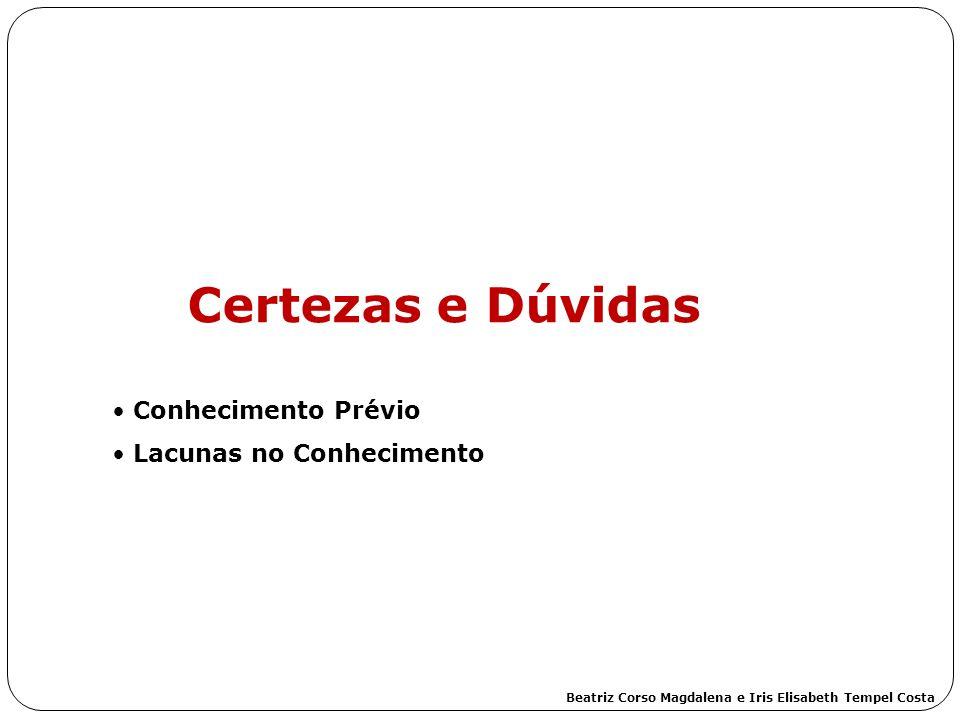 Certezas e Dúvidas Conhecimento Prévio Lacunas no Conhecimento Beatriz Corso Magdalena e Iris Elisabeth Tempel Costa