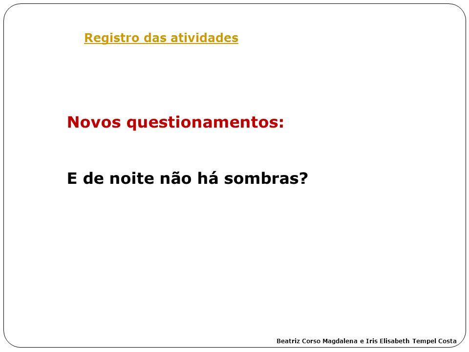 Registro das atividades Novos questionamentos: E de noite não há sombras? Beatriz Corso Magdalena e Iris Elisabeth Tempel Costa