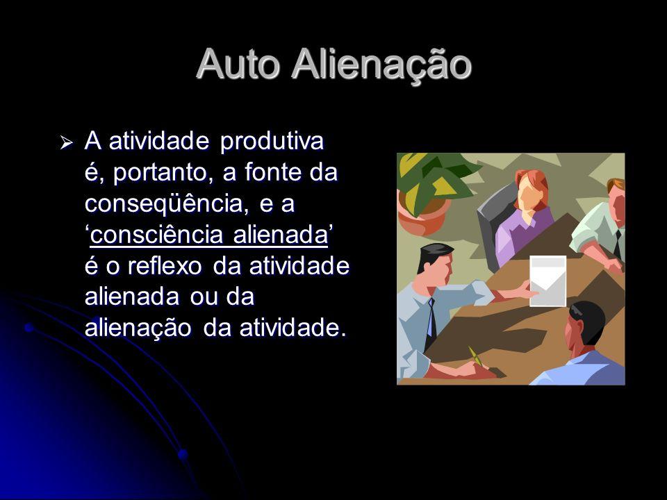 A alienação no trabalho é gerada na sociedade devido à mercadoria,que são os produtos confeccionados pelos trabalhadores explorados, e o lucro. A alie