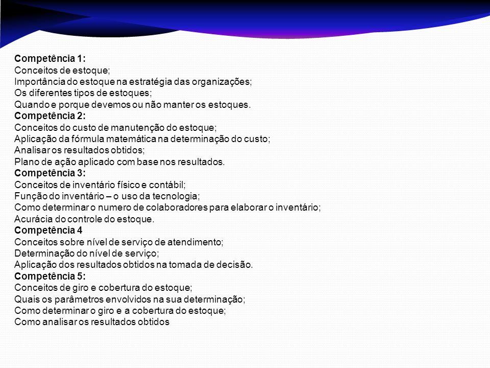 Competência 6 Conceitos de automatização dos estoques; Codificação dos produtos; Vantagens da automatização; Ferramentas utilizadas na automatização e os seus benefícios; Competência 7 Conceitos da curva ABC do estoque; Parâmetros utilizados para determinar a curva ABC no estoque; Elaborar a curva ABC do estoque; Criticidade aplicada a curva ABC Como interpretar a curva ABC e como aplicar os resultados obtidos.