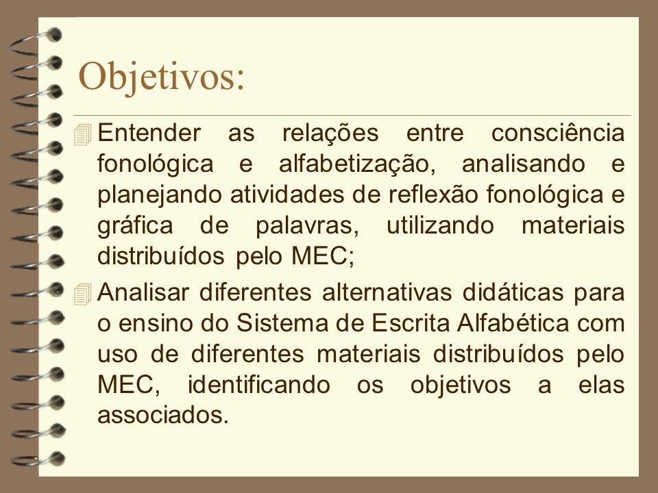 Objetivos: 4 Entender as relações entre consciência fonológica e alfabetização, analisando e planejando atividades de reflexão fonológica e gráfica de