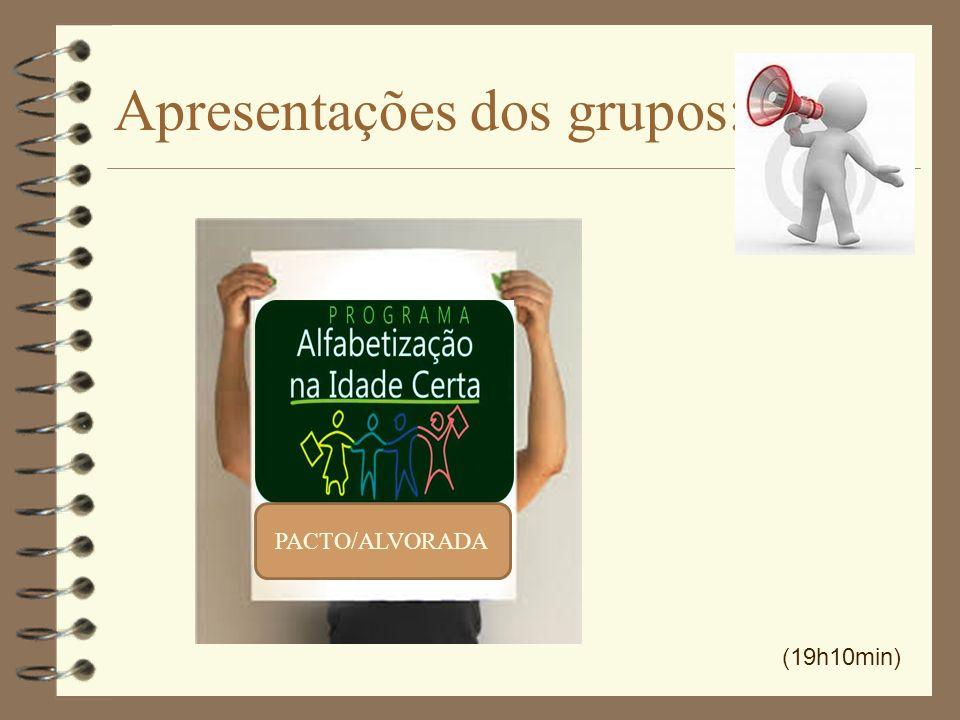 Apresentações dos grupos: PACTO/ALVORADA (19h10min) PACTO/ALVORADA