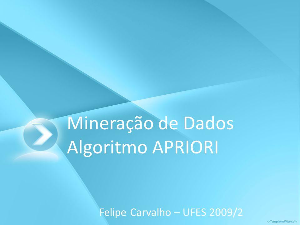 Mineração de Dados Algoritmo APRIORI Felipe Carvalho – UFES 2009/2