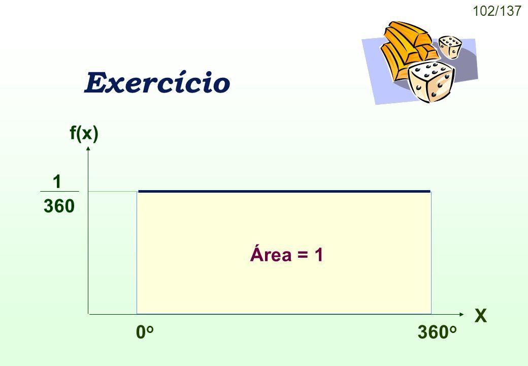 102/137 Exercício f(x) 0o0o 360 o X Área = 1 1 360