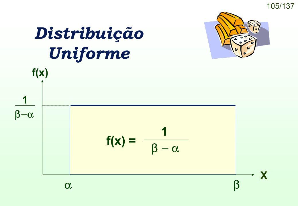105/137 Distribuição Uniforme f(x) X f(x) = 1 1