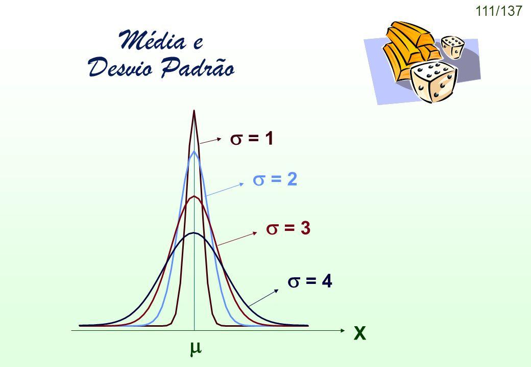 111/137 Média e Desvio Padrão = 1 = 2 = 3 = 4 X