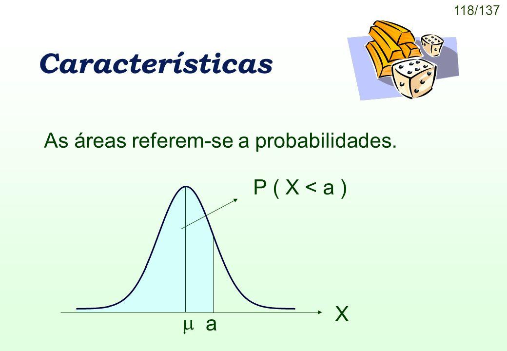 118/137 Características X a P ( X < a ) As áreas referem-se a probabilidades.