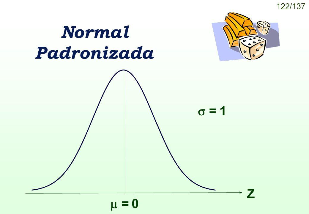 122/137 = 0 Normal Padronizada = 1 Z