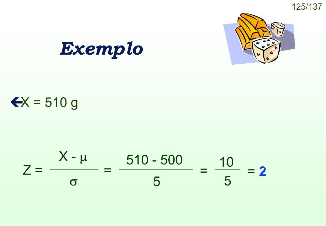 125/137 Exemplo çX = 510 g Z = X - 510 - 500 5 = = 2 = 10 5