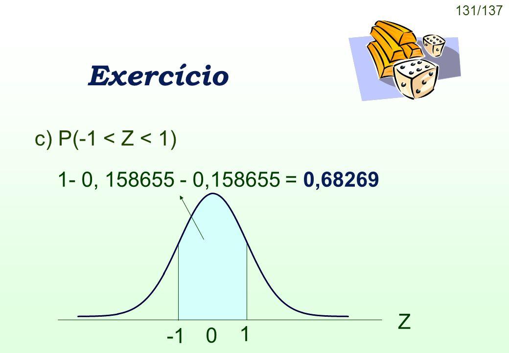 131/137 Exercício c) P(-1 < Z < 1) 1- 0, 158655 - 0,158655 = 0,68269 Z 0 1