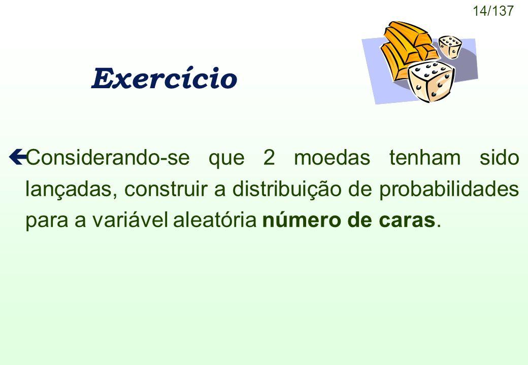 14/137 Exercício çConsiderando-se que 2 moedas tenham sido lançadas, construir a distribuição de probabilidades para a variável aleatória número de ca
