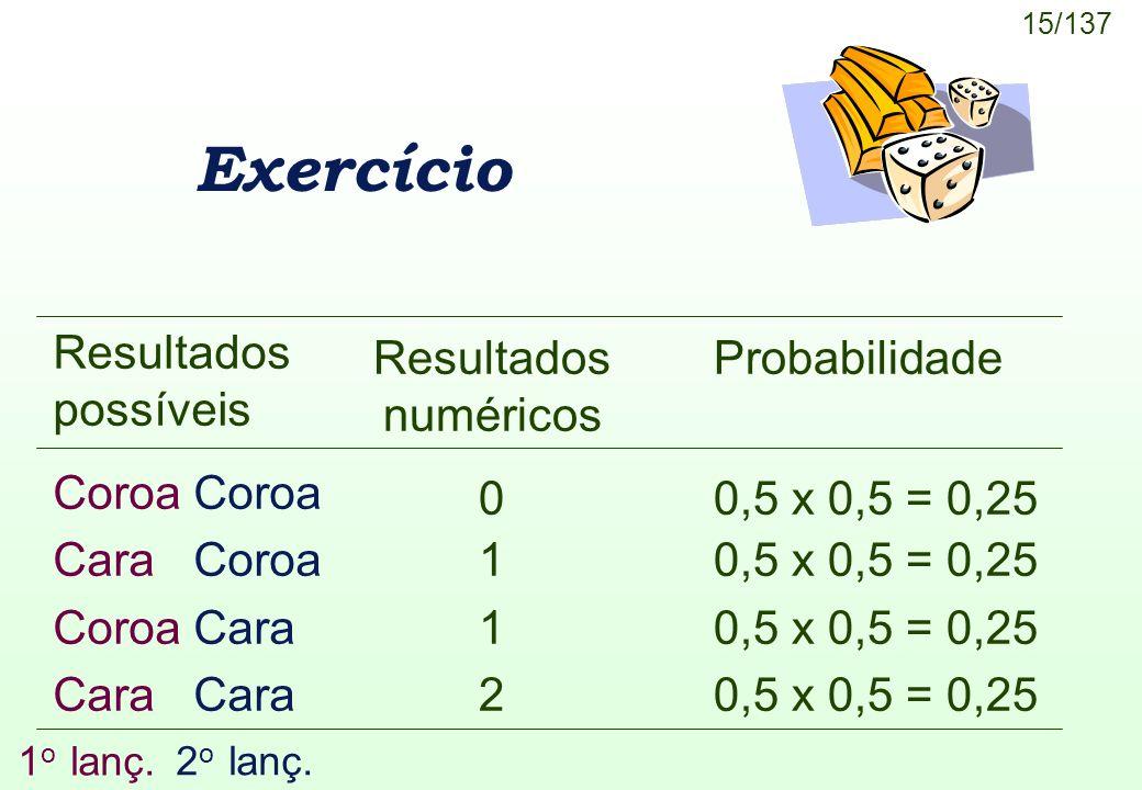 15/137 Exercício Resultados numéricos 0 1 2 Resultados possíveis Coroa Cara Coroa Coroa Cara Cara Probabilidade 0,5 x 0,5 = 0,25 1 o lanç. 2 o lanç.