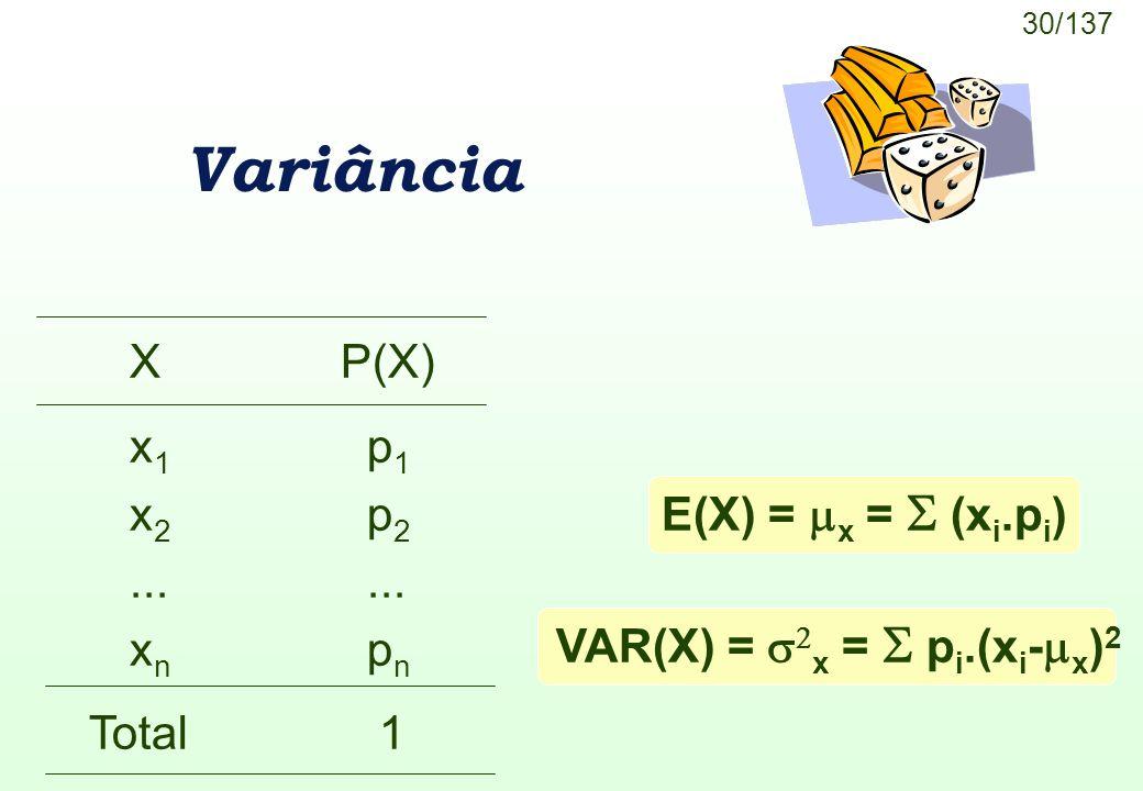 30/137 E(X) = x = (x i.p i ) Variância XP(X) x 1 p 1 x 2 p 2... x n p n Total 1 VAR(X) = x = p i.(x i - x ) 2