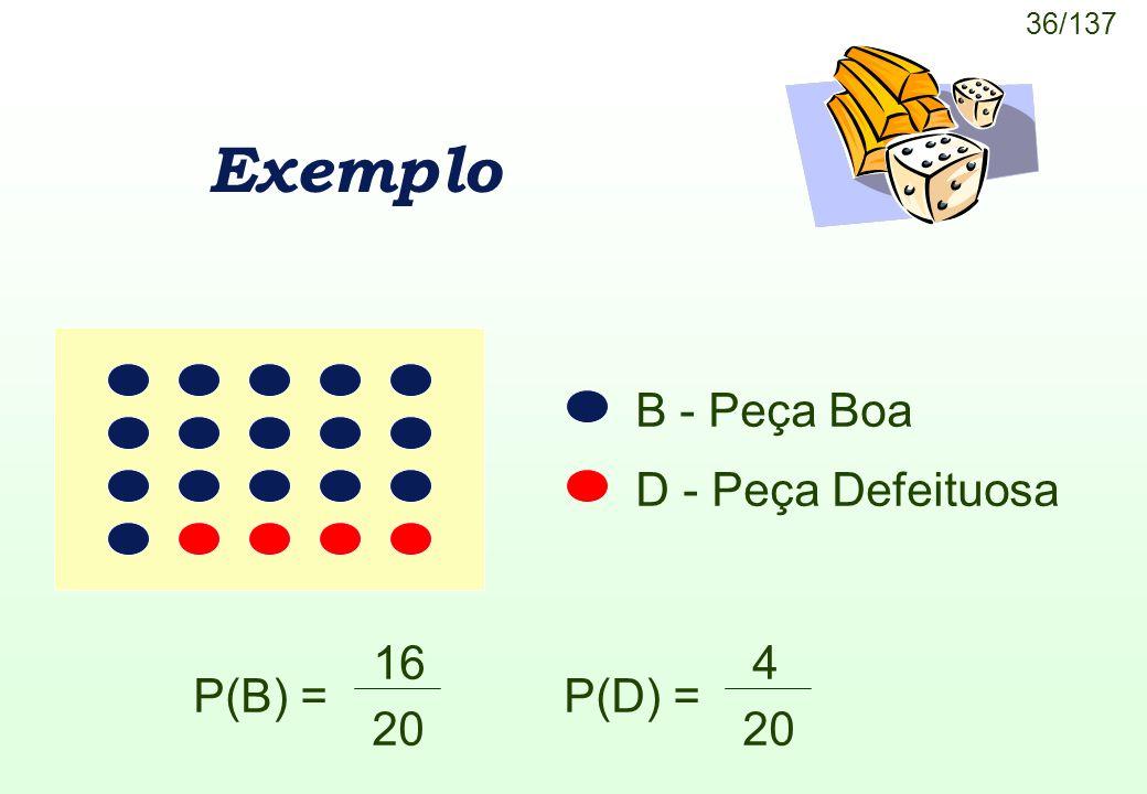 36/137 Exemplo P(B) = 16 20 P(D) = 4 20 B - Peça Boa D - Peça Defeituosa